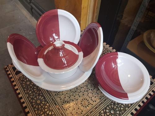 Service à couscous bicolore rouge & blanc-6 pers