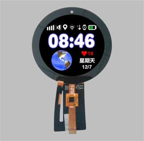 2.4 inch circular lcd tft display with PCAP touch screen