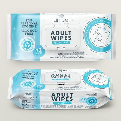 Juniper Clean Biodegradable Adult Wet Wipes 72CT