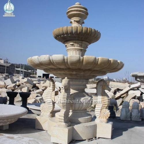 Outdoor Garden Waterwheel Fountain Hippocampus Carving