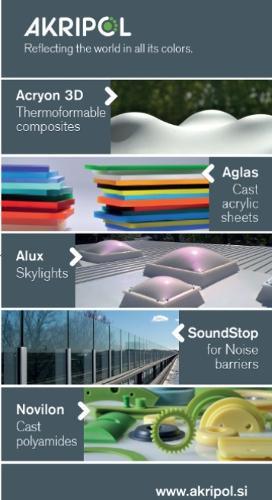 Lite akrilne plošče AGLAS, akrilni kompoziti ACRYON