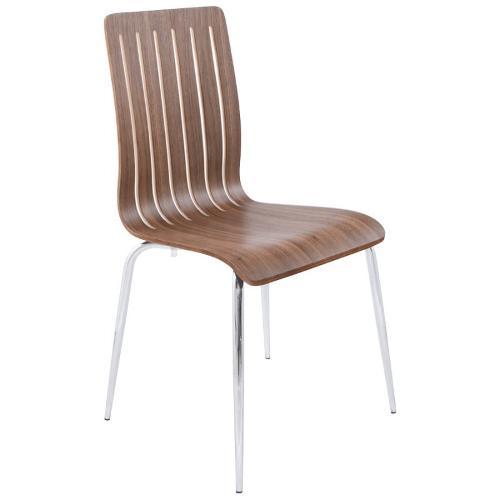 Chaise contemporaine SORGUE en bois et métal chromé noyer