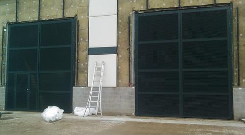 2 portes simples avec panneau latéral et imposte dans parois