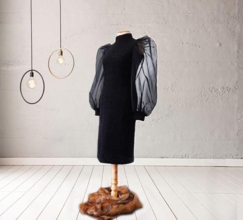 Robe Noir Manches Des