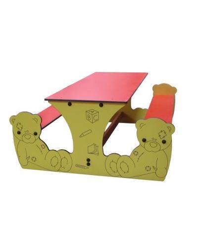Table Bancs Ourson 6 Enfants Compact Stratifié