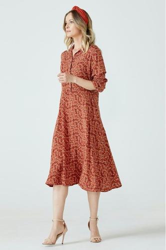 Turn-down Collar Half Button Summer Dress For Women Flower P