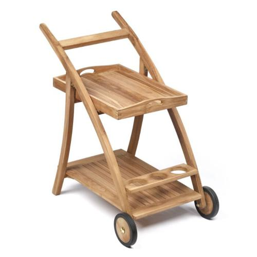 teak houten serveerwagen 56x78x85 cm