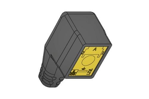 Connettore a tre poli per elettrovalvole