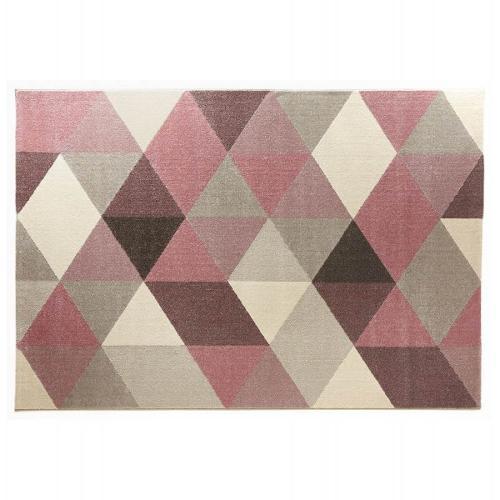 Tapis design style scandinave GEO (rose, gris, beige)