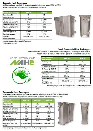 NAHE Aluminium Heat Exchangers for condensing boilers
