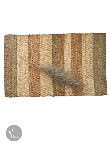 Striped Rectangular Handwoven Seagrass Rug