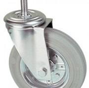 Roulettes pivotantes à tige filetée ou lisse en caoutchouc