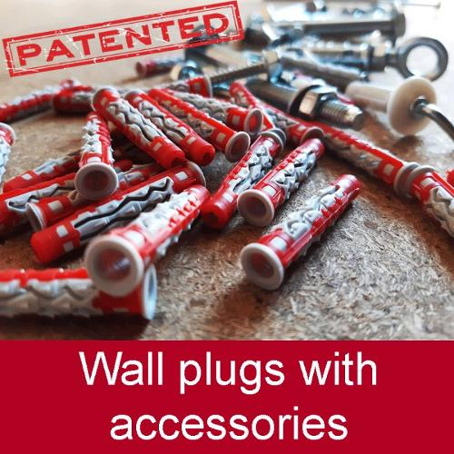 Plastic wall plugs (Patented) with accessories