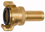 GEKA hose piece, rigid, Safety design, bright brass, I.D. 32
