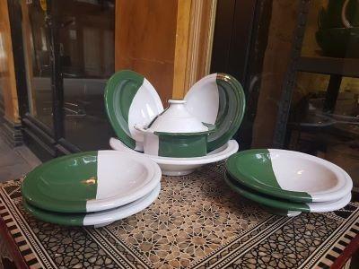 Service à couscous bicolore vert & blanc-6 pers