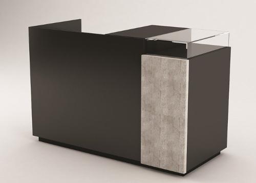 Kassentisch Zero groß schwarz hochglanz/beton