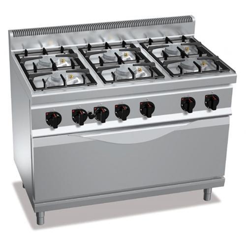 Cucina a gas 6 fuochi con forno a gas