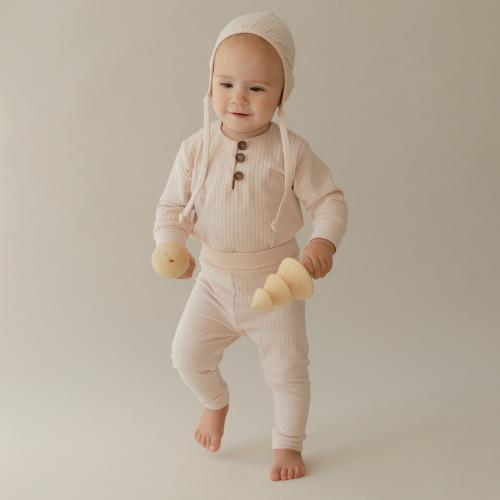 Cotton Ribbed Pants Powdery