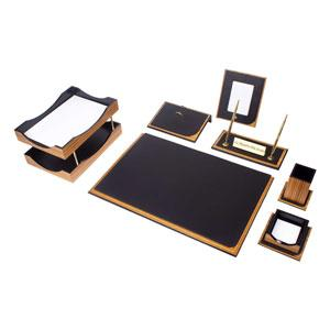 Galaksi Desk Set 10 Pieces - Zebrano / Black Leather